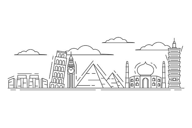 Outline landmarks skyline sketch style Free Vector