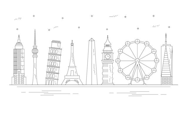 Delinea lo skyline dei monumenti di tutto il mondo Vettore gratuito