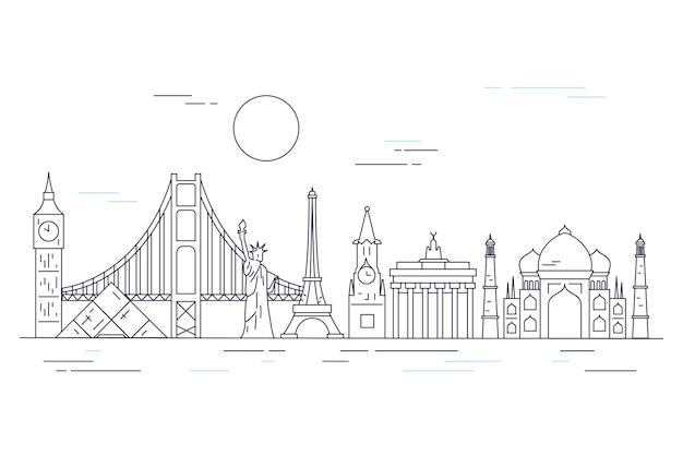 Outline landmarks skyline Free Vector