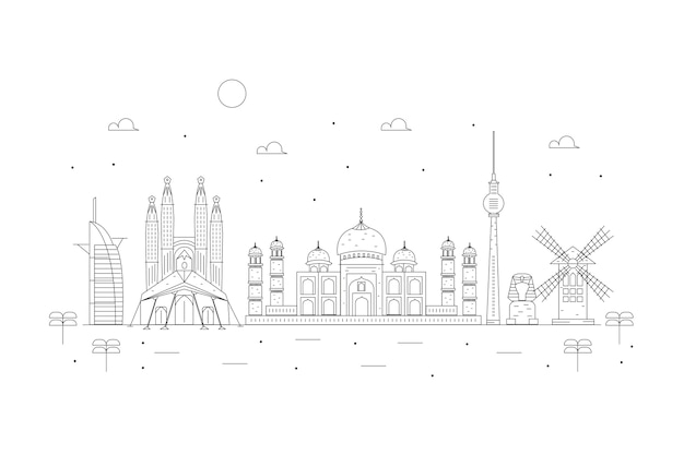 Outline landmarks skyline Free Vector
