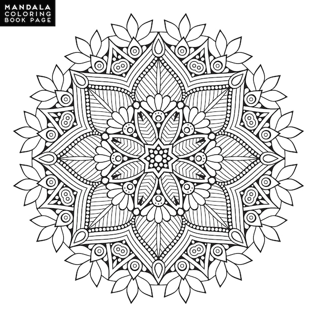 Free Vector Outline Mandala For Coloring Book. Decorative Round Ornament.  Anti-stress Therapy Pattern. Weave Design Element. Yoga Logo, Background  For Meditation Poster. Unusual Flower Shape. Oriental Vector.