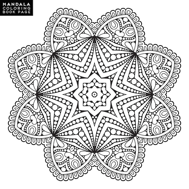 Outline Mandala For Coloring Book Decorative Round Ornament Anti Stress Therapy Pattern Weave Design Element Yoga Logo Background Meditation Poster