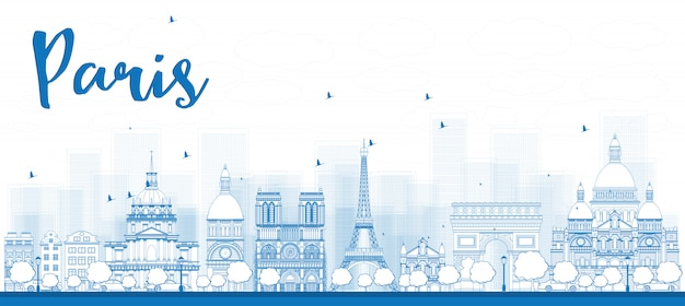 Outline paris skyline with blue landmarks Premium Vector