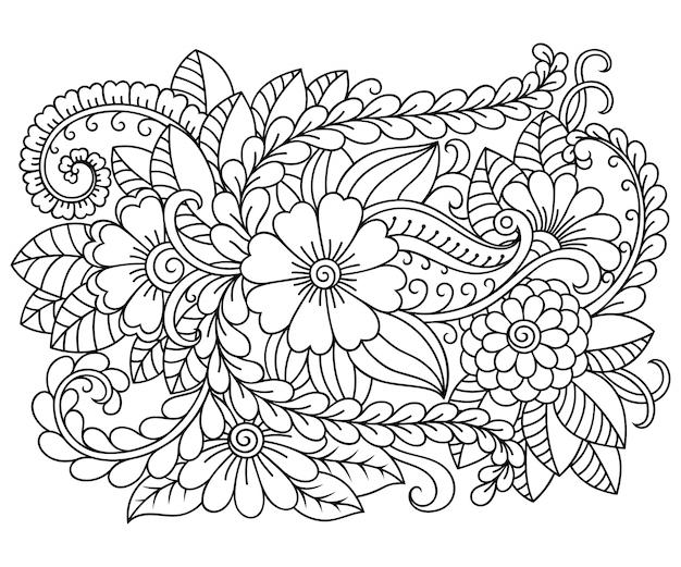 本ページを着色するための一時的な刺青スタイルの長方形の花柄のパターンを概説します。黒と白の飾りを落書き。手描きイラスト。 Premiumベクター