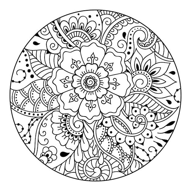 本ページを着色するための丸い花柄の概要を説明します。黒と白の落書きのパターン。手描きイラスト。 Premiumベクター