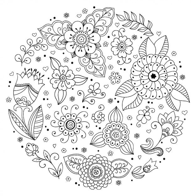 本ページを着色するための一時的な刺青スタイルの丸い花模様の概要を説明します。黒と白の飾りを落書き。手描き。 Premiumベクター