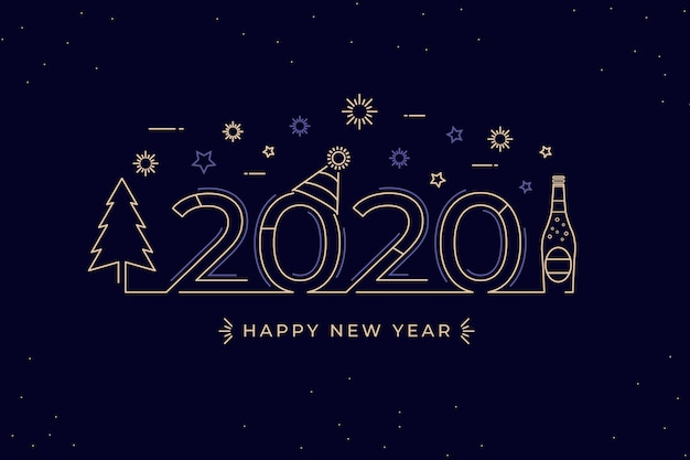 Outline style for new year background Free Vector