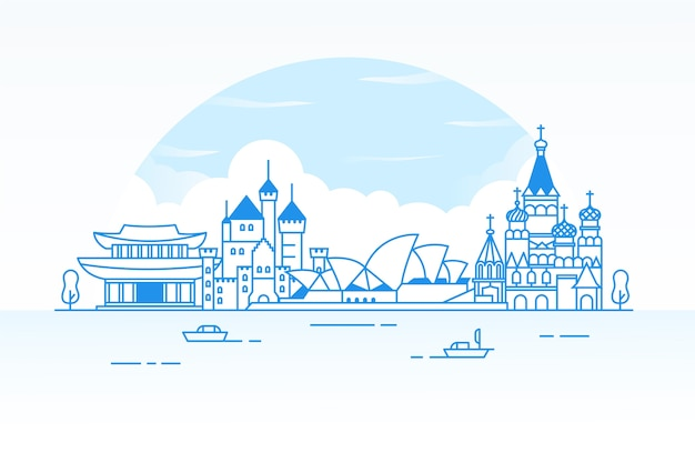 Outline travel landmarks skyline Free Vector