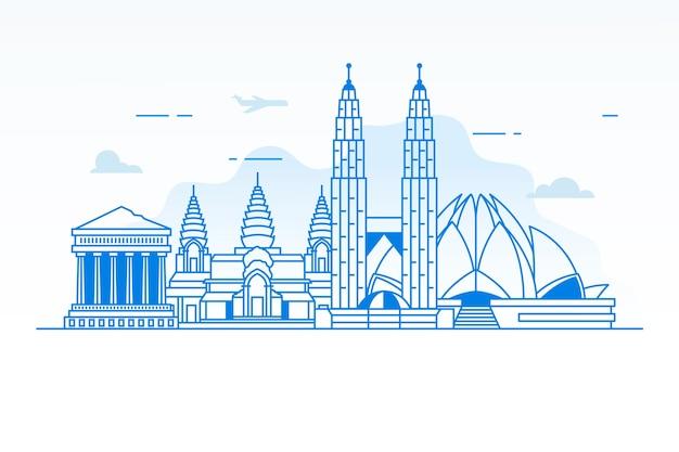 Outline traveling landmarks skyline Free Vector