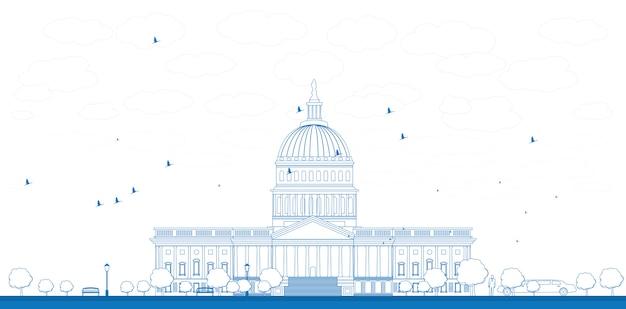 Outline washington dc capitol landscape, usa Premium Vector