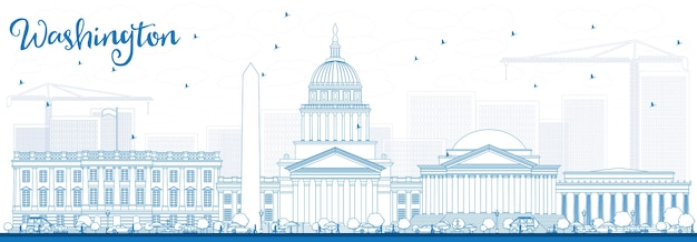 Outline washington dc skyline with blue buildings. business travel and tourism concept with historic buildings. image for presentation banner placard and web site. Premium Vector