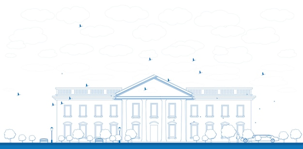 Outline white house washington dc illustration Premium Vector