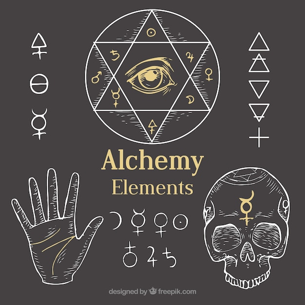 Outlined alchemy elements Free Vector