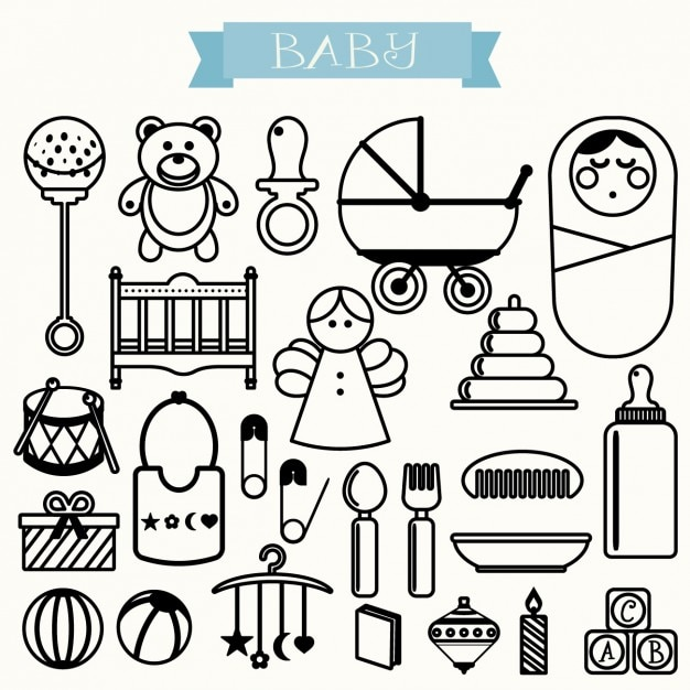 Outlined baby icons Free Vector