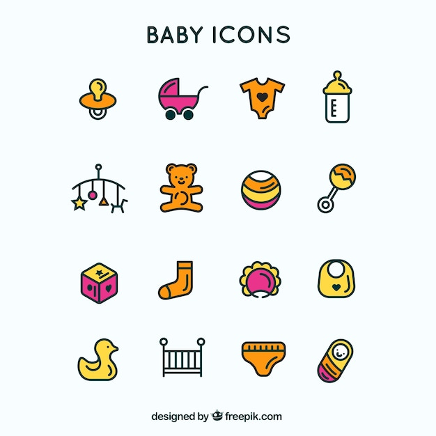 Outlined blue baby icons Free Vector
