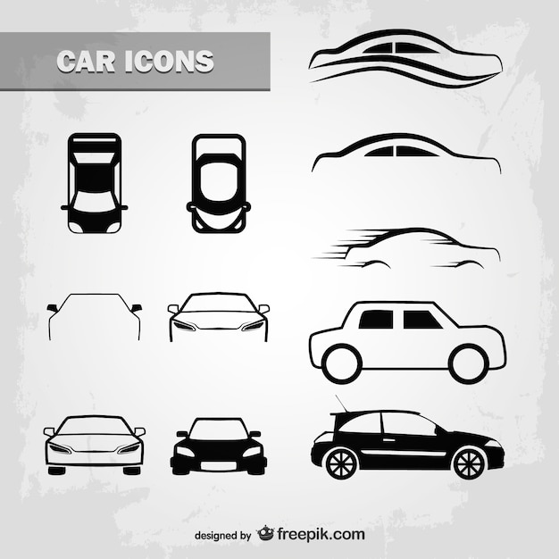 Outlined car icons Free Vector