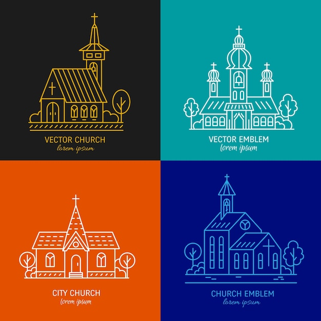 Outlined churches collection Premium Vector