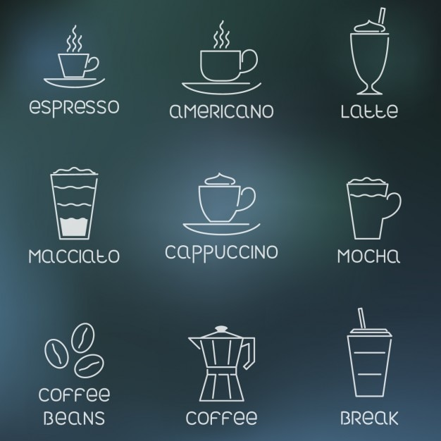 Outlined coffee icons Free Vector