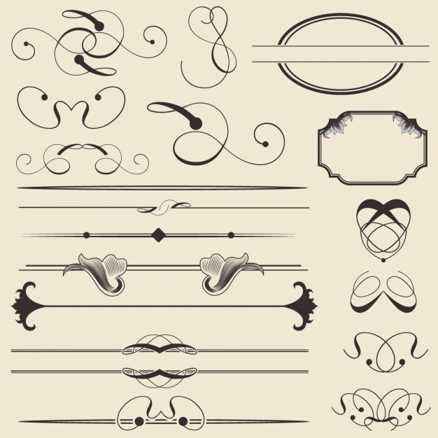 Outlined decorative elements Free Vector