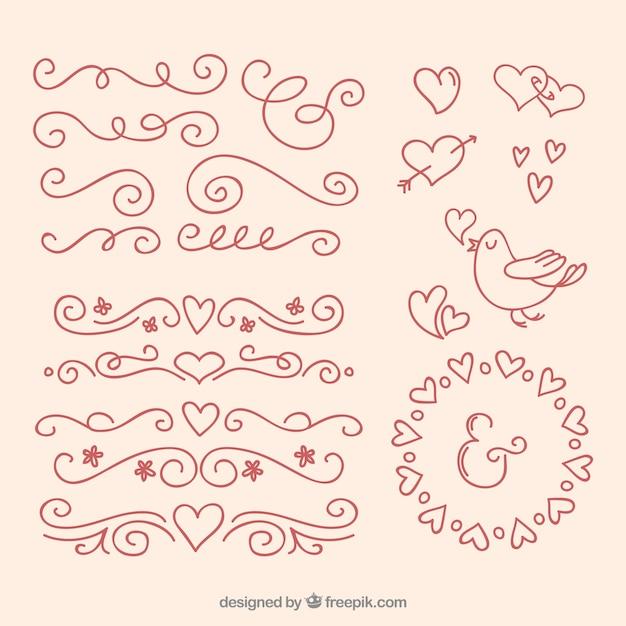 outlined love ornaments vector free download. Black Bedroom Furniture Sets. Home Design Ideas