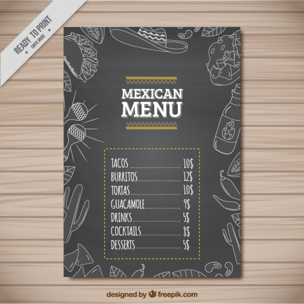 outlined mexican restaurant menu design vector free download