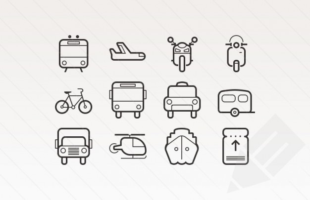 Outlined stroke icons for transportation Free Vector