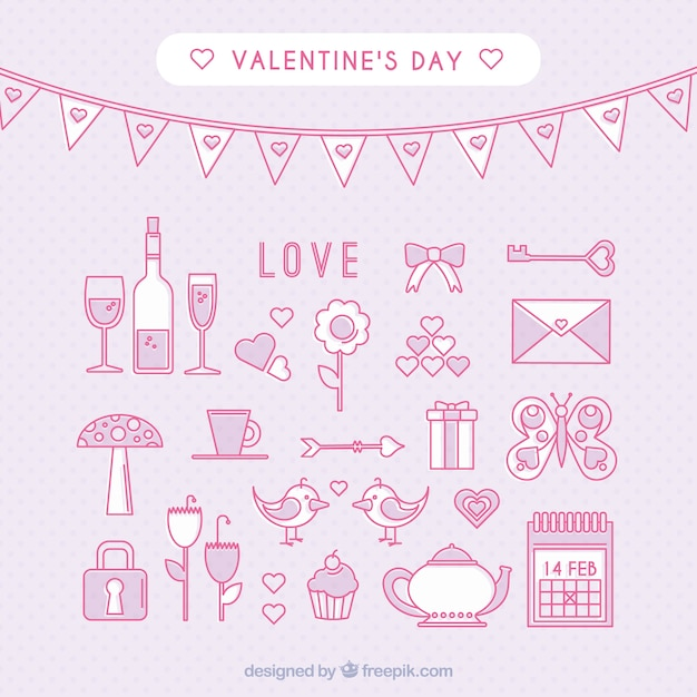Outlines Valentines Day Icons Vector Free Download