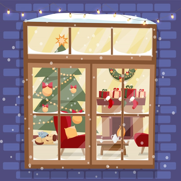 Outside brick wall with window - christmas tree, furniture, wreath, fireplace, stack of gifts and pets. cozy festively decorated light room outside view. flat cartoon vector Premium Vector