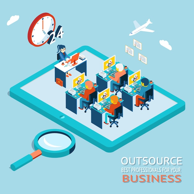 Outsourcing the best professionals for business advice, counseling. global work marketplace in web. office with people working at the computer Free Vector