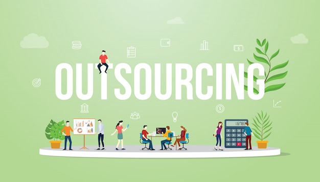 Outsourcing business concept big text with people Premium Vector