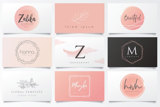 Outstanding logos and business cards Premium Vector