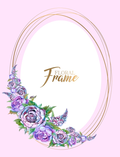 Oval gold frame with a garland of flowers. wedding invitation Premium Vector