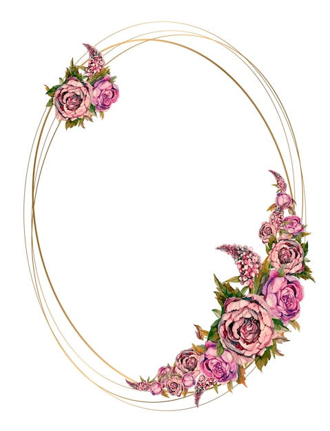 Oval gold frame with pink watercolor flowers. Premium Vector