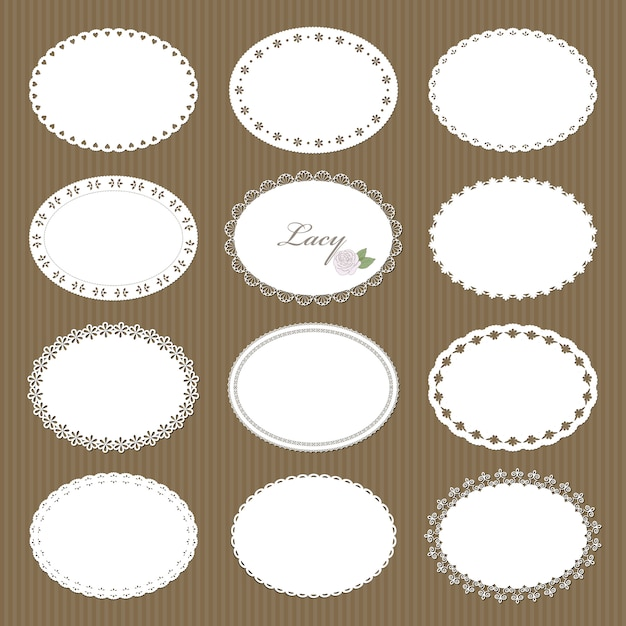 Oval lacy doilies big set on cardboard background Premium Vector