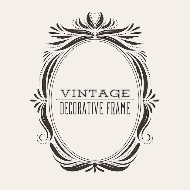 Oval victorian style vintage border frame Premium Vector