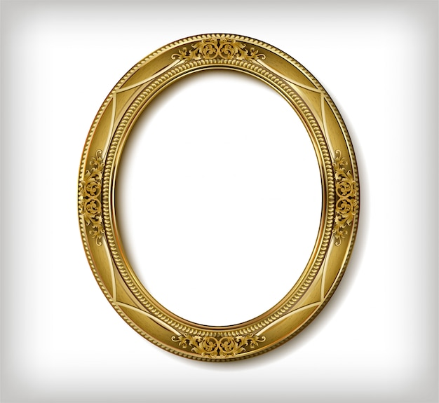 Oval wooden frame of gold photo frame with corner line floral for picture Premium Vector
