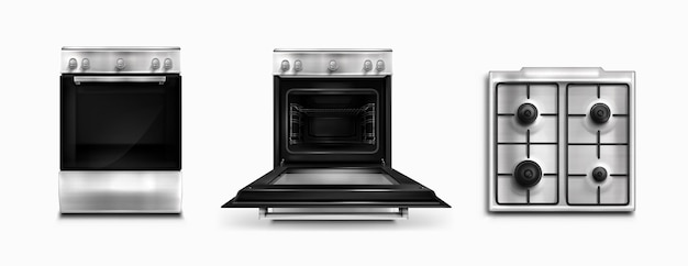Free Vector Oven Electric And Gas Kitchen Appliances Top And Front View Open Or Closed Stove Household Technics With Switches Home Tech Equipment Isolated White Background Realistic 3d Vector Illustration