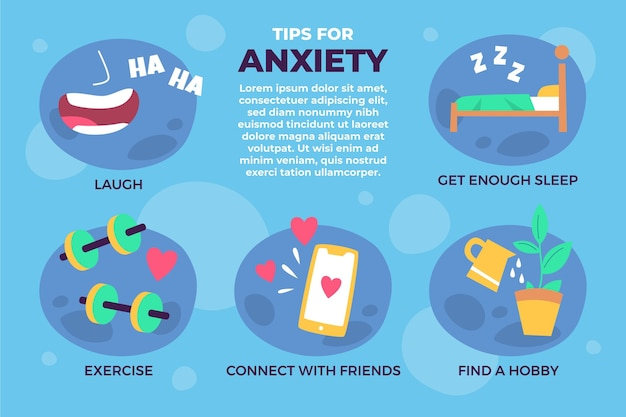 Free Vector | Overcome the anxiety tips infographic