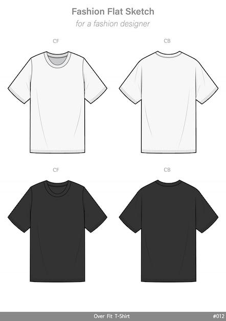 Overfit tシャツファッションフラットテクニカルドローイングテンプレート Premiumベクター