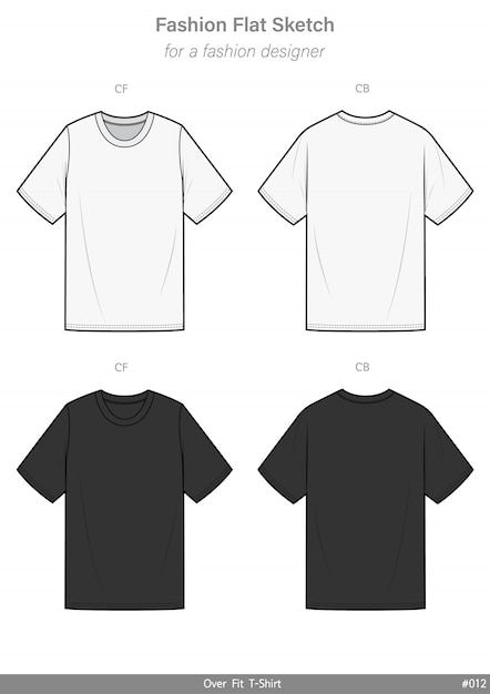 Overfit tee shirt fashion flat technical drawing template Premium Vector