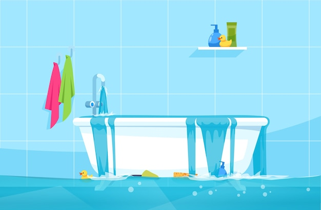 Overflowing bath semi   illustration. floating bathroom accessories and gels. water leak. bathroom flood. common household accidents  chartoon scene for commercial use Premium Vector