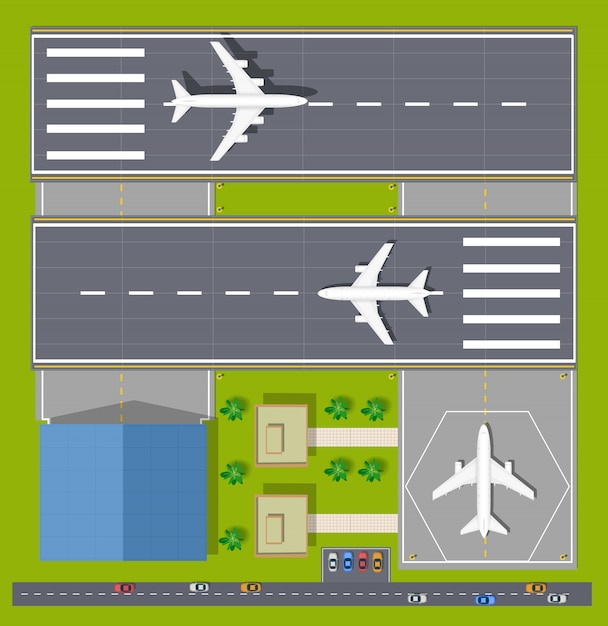 Overhead point of view airport with all the buildings, planes, vehicles and airport Premium Vector