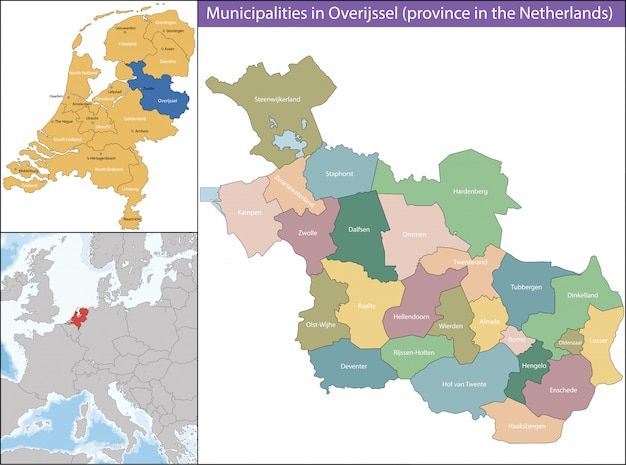 Overijssel is a province of the netherlands Premium Vector