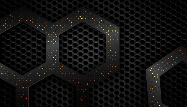 Overlap shape abstract black frame layout design tech with glitters and light effect Premium Vector