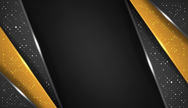 Overlap shape abstract gold black frame layout design tech with glitters and light effect Premium Vector