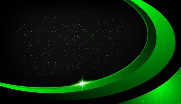 Overlap shape abstract green black frame layout design tech with glitters and light effect Premium Vector