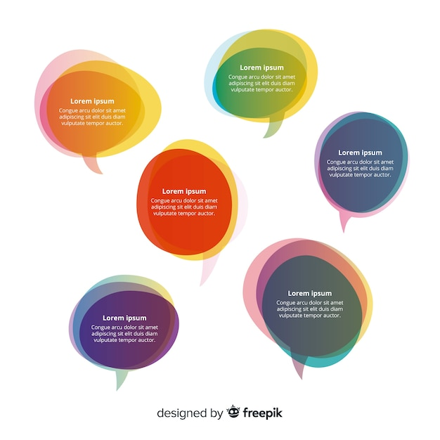 Overlay colourful shapes for speech bubbles with copy space Free Vector