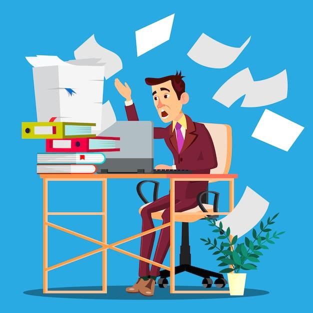 Overloaded manager concept. overloaded businessman worker Premium Vector