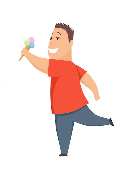 Overweight boy cute chubby child cartoon character eating ice cream Premium Vector