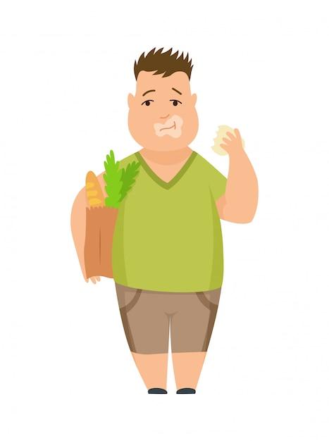 Overweight boy cute chubby child cartoon character Premium Vector